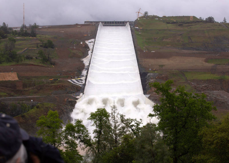 Water Flows Down Oroville Dam's Rebuilt Spillway for First