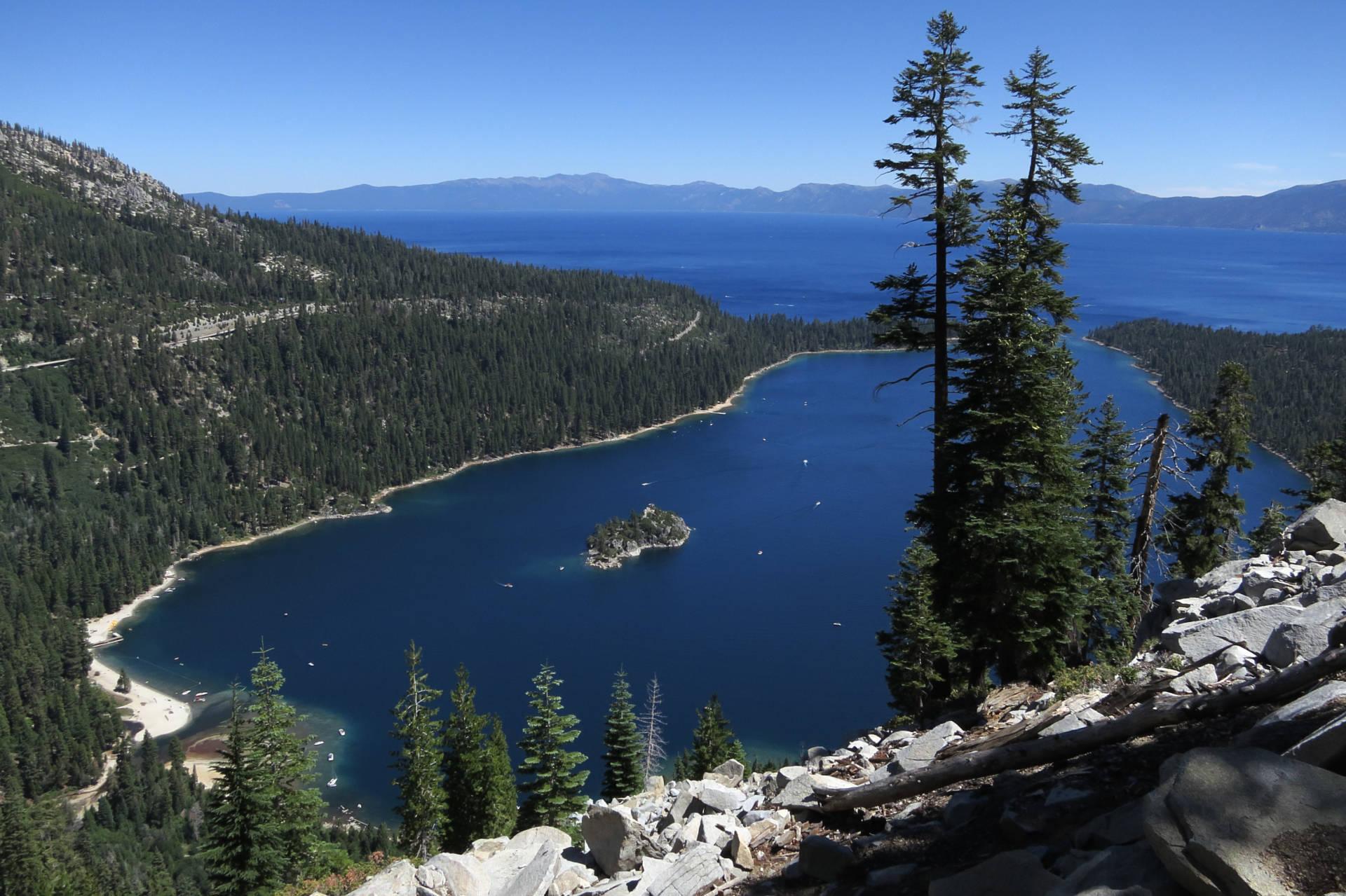 Emerald Bay lies under blue skies at Lake Tahoe. Sean Gallup/Getty Images