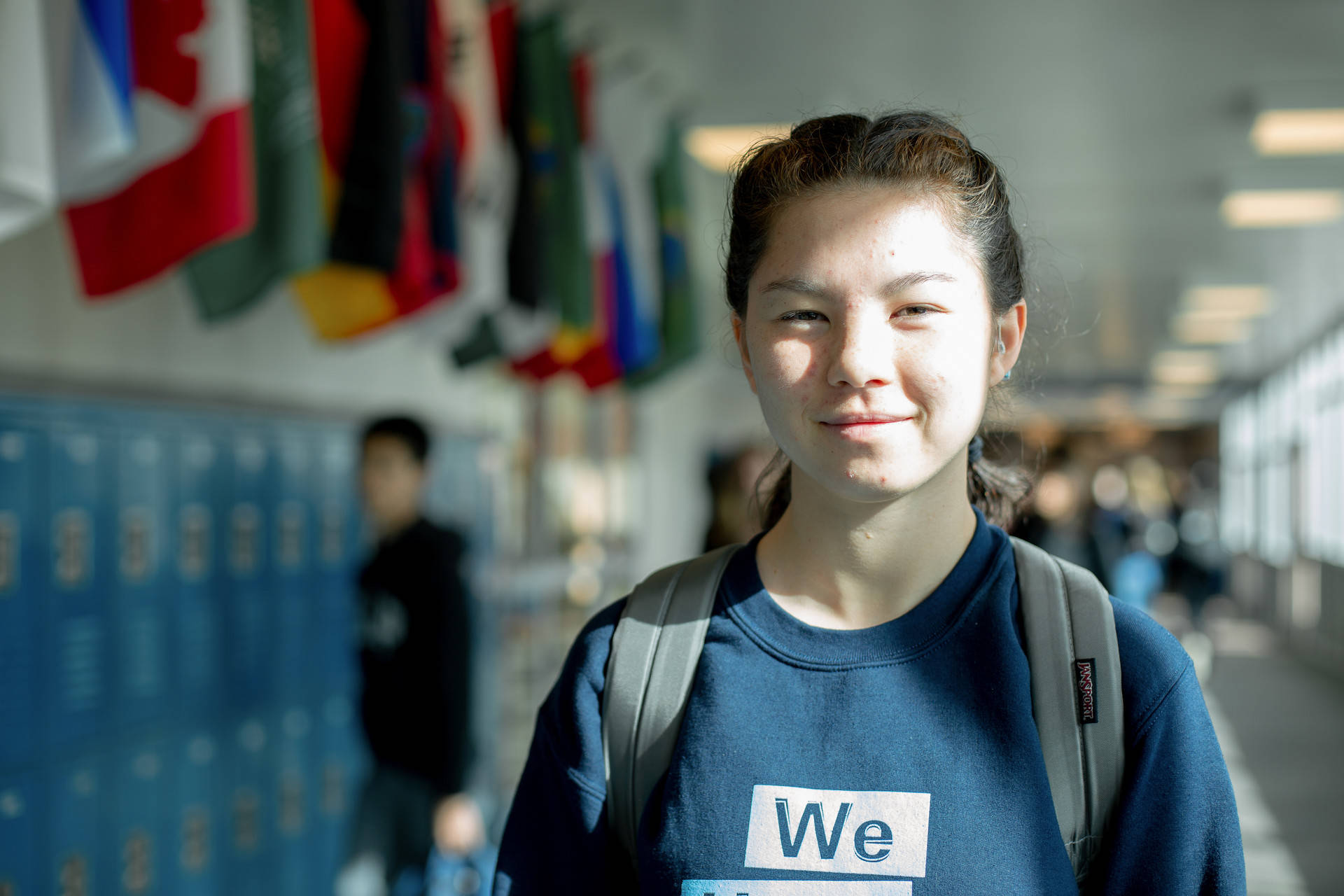 Olive Howden, 16, is the only deaf student at her high school. Howden wears bilateral cochlear implants to help her hear. Sruti Mamidanna/KQED