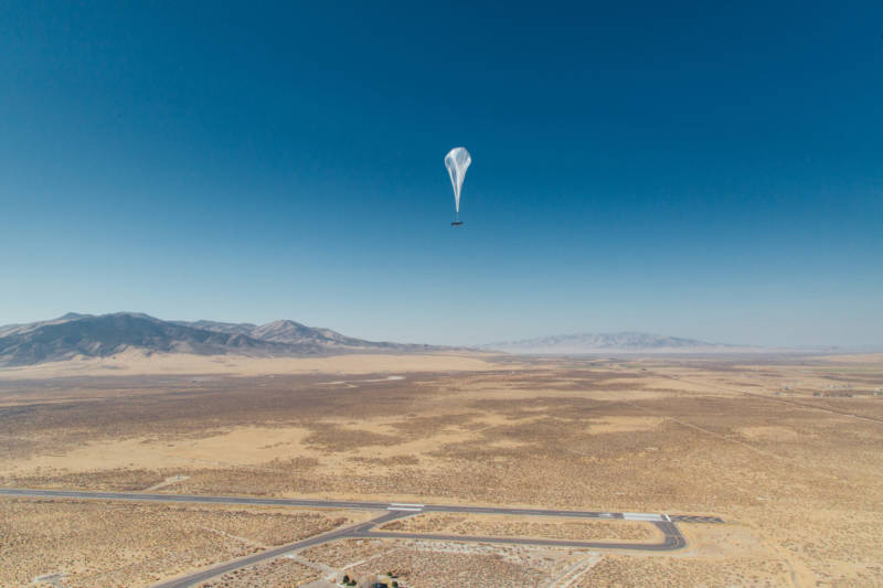 Project Loon sends networks of stratospheric balloons up into the air: 60 to 70,000 feet up, above where airplanes fly, below where satellites orbit. Those balloons were developed at Moffett Field.