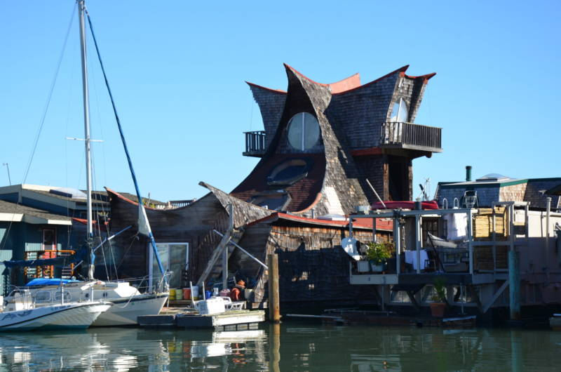 Many of the houseboats in Sausalito in the 1960s and 1970s were works of art, like this one, known as 'The Owl,' that is still docked there. Others were barely buoyant scrap heaps.