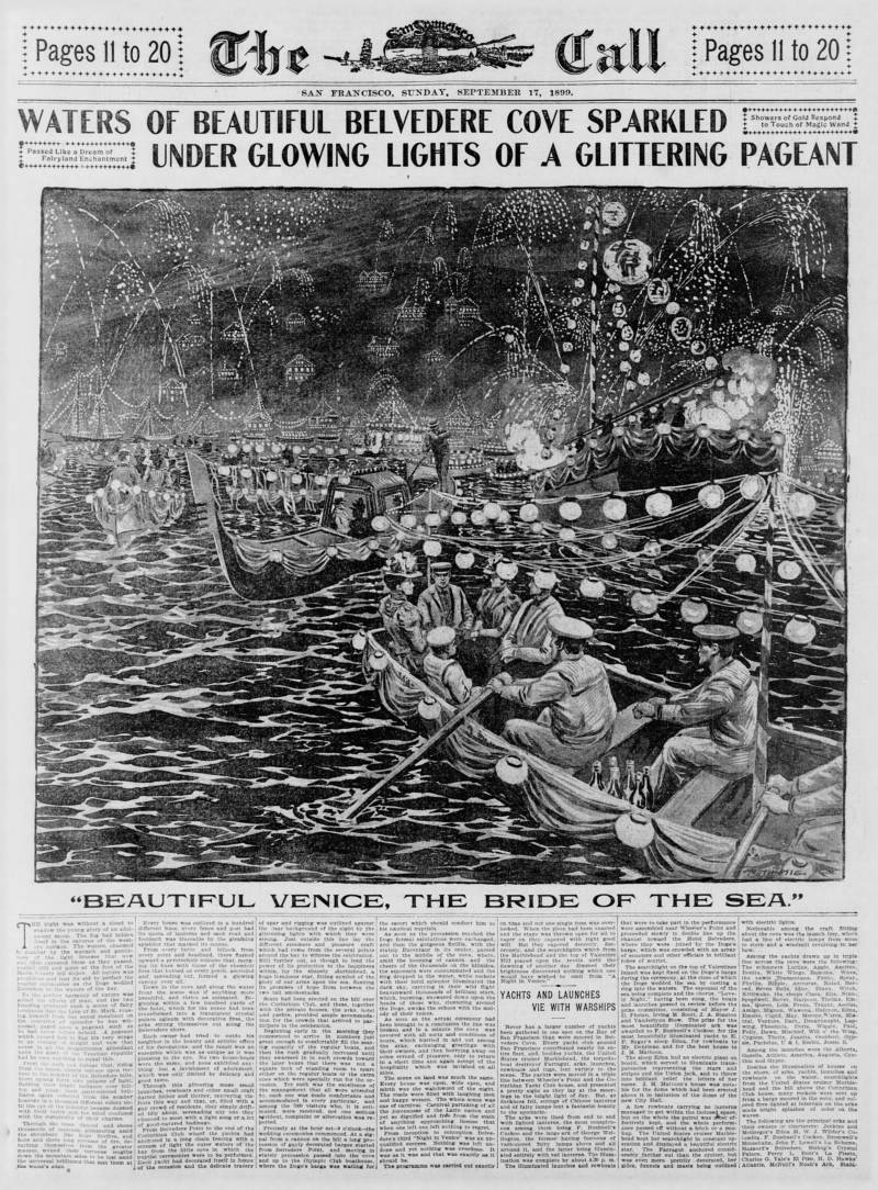 A full-page spread in the Sept. 17, 1899, edition of the San Francisco Call highlights a celebration on the waters of Belvedere, one of the homes of the late-19th century ark scene.