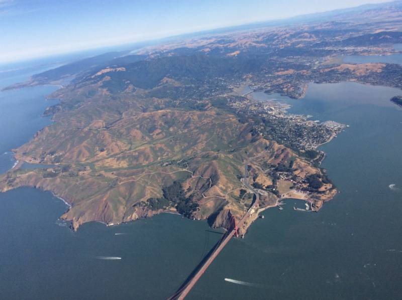 The Golden Gate Bridge as seen from a plane taking off from San Francisco International Airport.