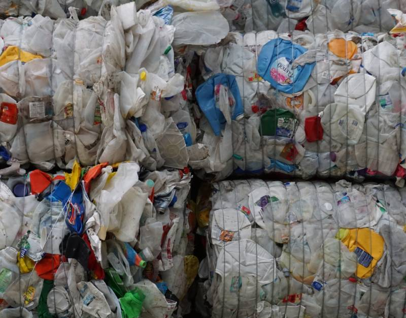 Bales of #2 plastic, also known as High-density polyethylene or HDPE are generally seen used in laundry detergent bottles and milk jugs