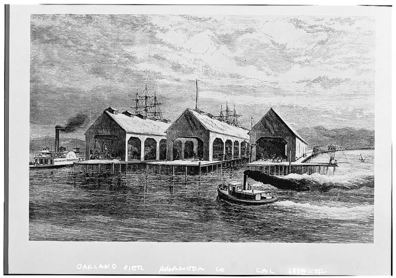The Oakland Long Wharf in 1878. In 1869, the wharf became the western terminus of the First Transcontinental Railroad.