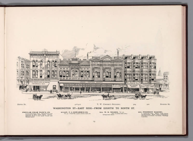 An illustrated directory of Oakland from 1896 featuring the east side of Washington Street between 8th and 9th Streets shows some of the businesses that made up Oakland's original downtown.