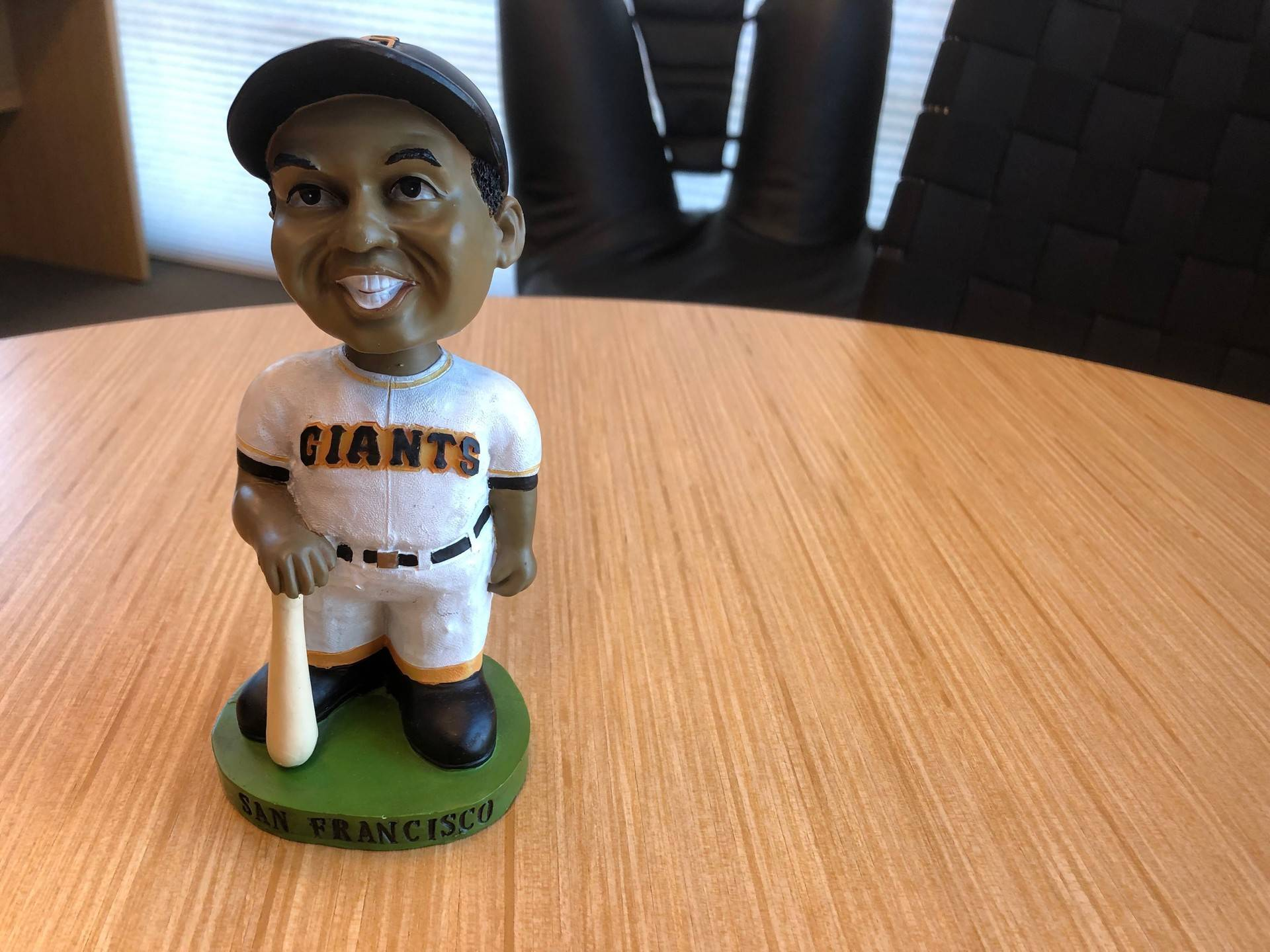 The first 25,000 fans in the gates at 3Com Park on May 9, 1999, received this Willie Mays bobblehead, the first time a bobblehead had been given away at a sporting event.  Ryan Levi/KQED