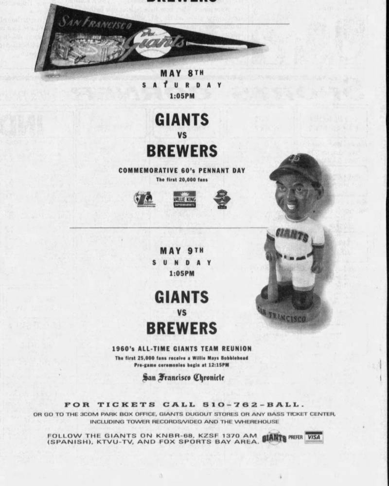 An ad in the San Francisco Examiner on May 2, 1999, highlights the upcoming Willie Mays bobblehead promotion as part of a weekend of 1960s-related events.