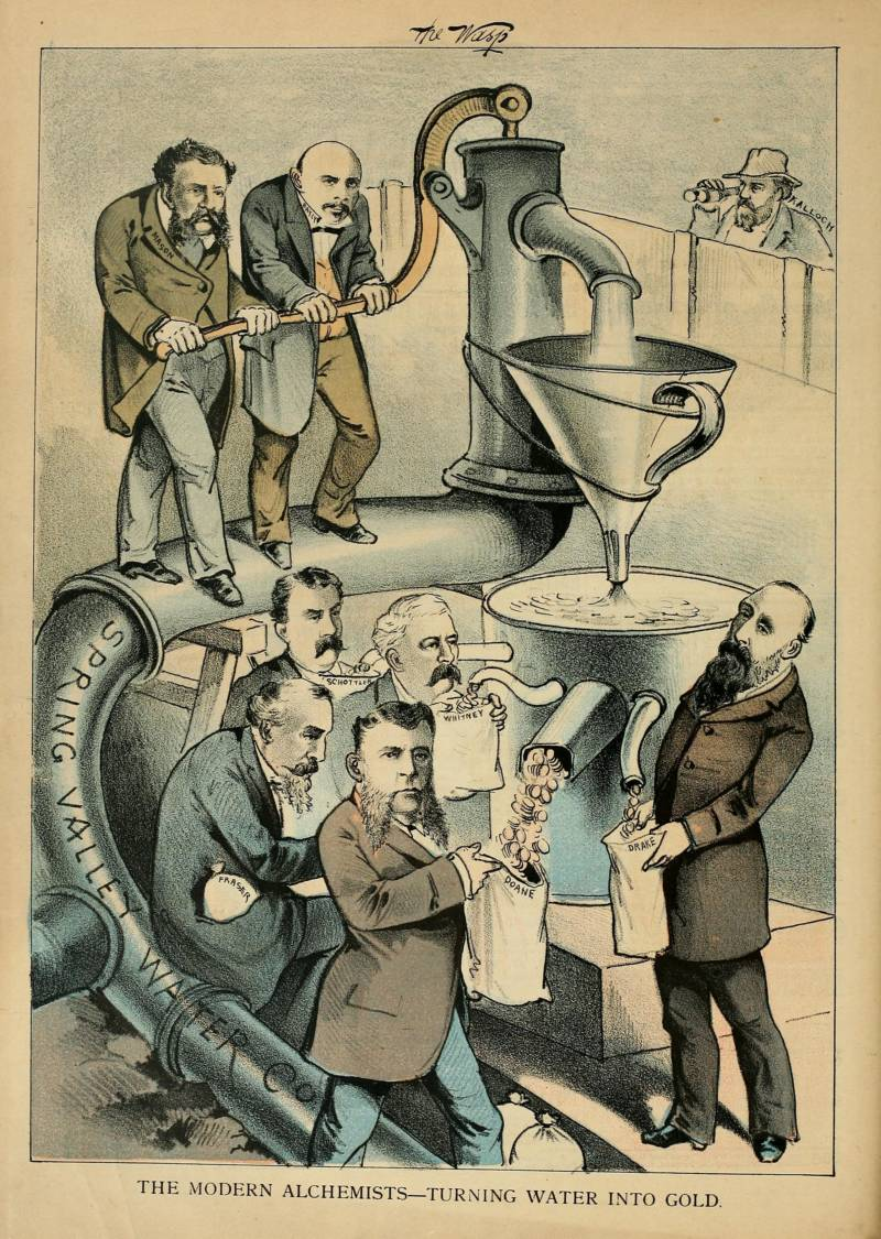 "From the June 25, 1881 edition of ""The Wasp,"" a political cartoon with the caption ""The modern alchemists turning water into gold."""