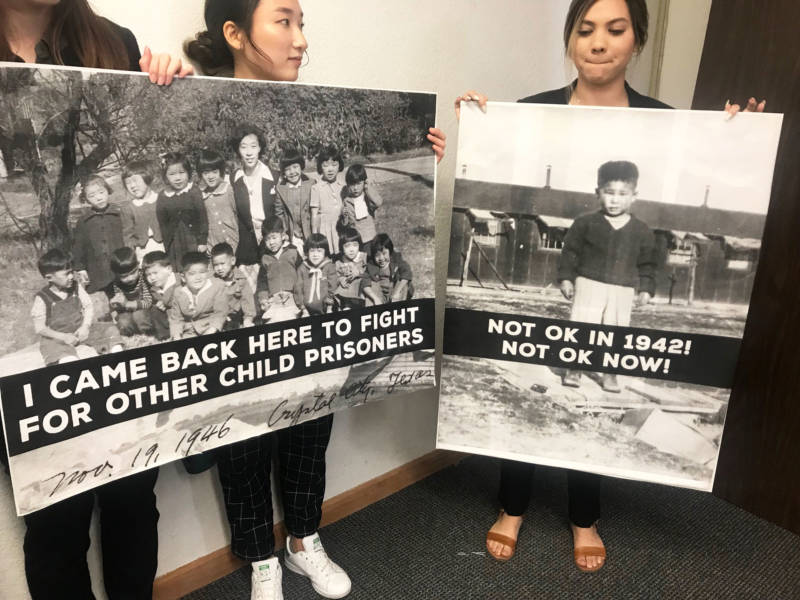 College students turned out in San Francisco's Japantown on Thursday to protest the incarceration of migrant children at the border and highlight parallels to the internment of Japanese Americans during World War II.