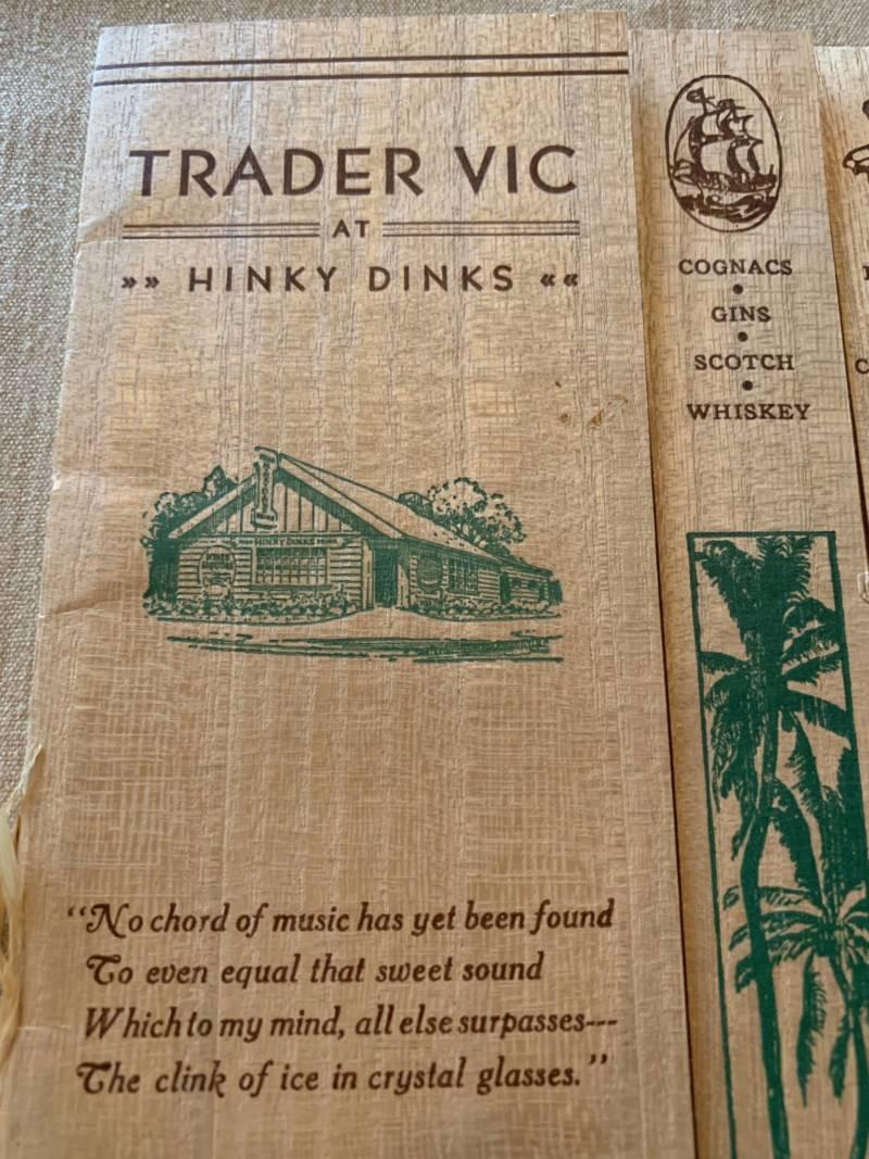 An early Trader Vic menu.