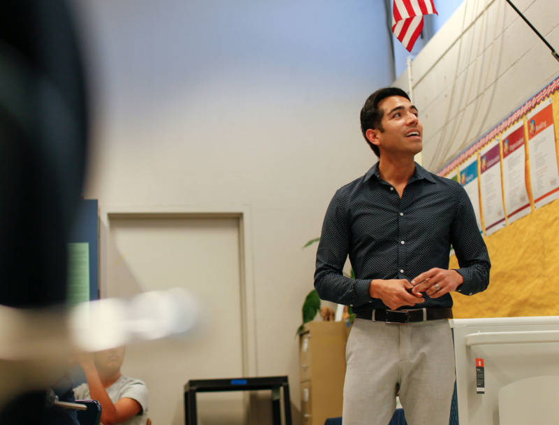 Julio Navarrete in his classroom at American High School. Through tutoring his peers throughout his own high school and college days, Navarette says he grew a passion for teaching.