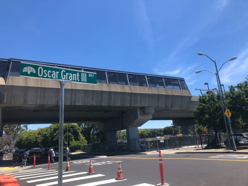 The previously unnamed street outside the Fruitvale BART station now bears Oscar Grant's name.