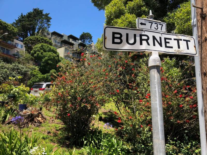 Burnett Avenue in San Francisco's Twin Peaks neighborhood is also named for the state's racist first governor.