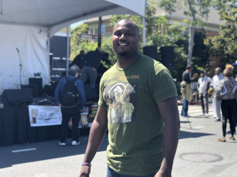 """Rapper and educator Brandon 'Griot B' Brown moved to the Bay Area from Los Angeles to further his message of emancipation of the people of color. 'At Berkeley Juneteenth, the elders can show their roots and transmit it to us, the transplants and the people that were displaced,' he said. 'This is how we say, """"We are still here.""""'"""