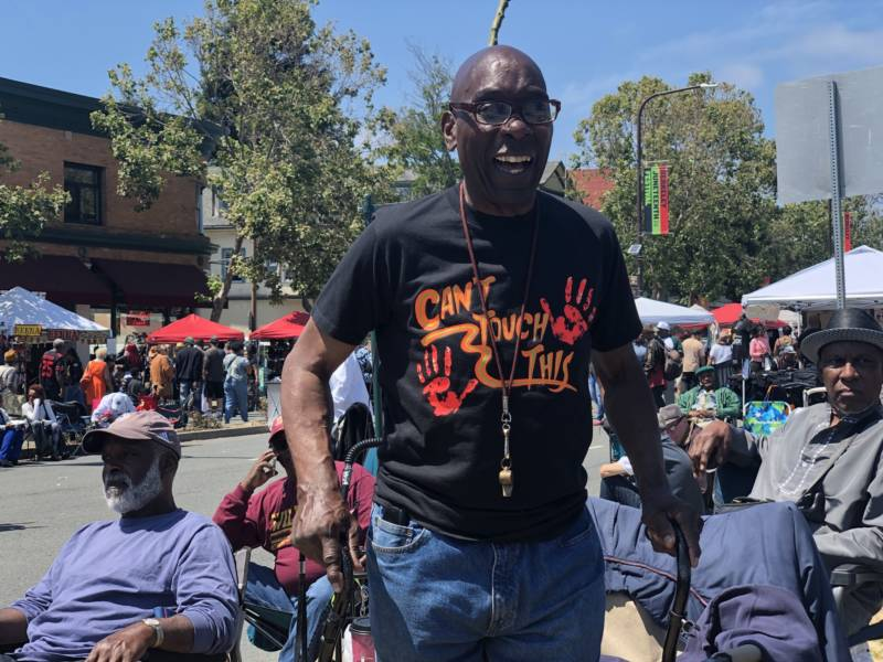 Frank Bodden aka Papa Smurf has been a regular at Berkeley Juneteenth for 20 years. He remembers his youth traveling up and down Adeline Street. 'The black population in the Bay Area is getting smaller, but we're like roaches — we know how to survive.'