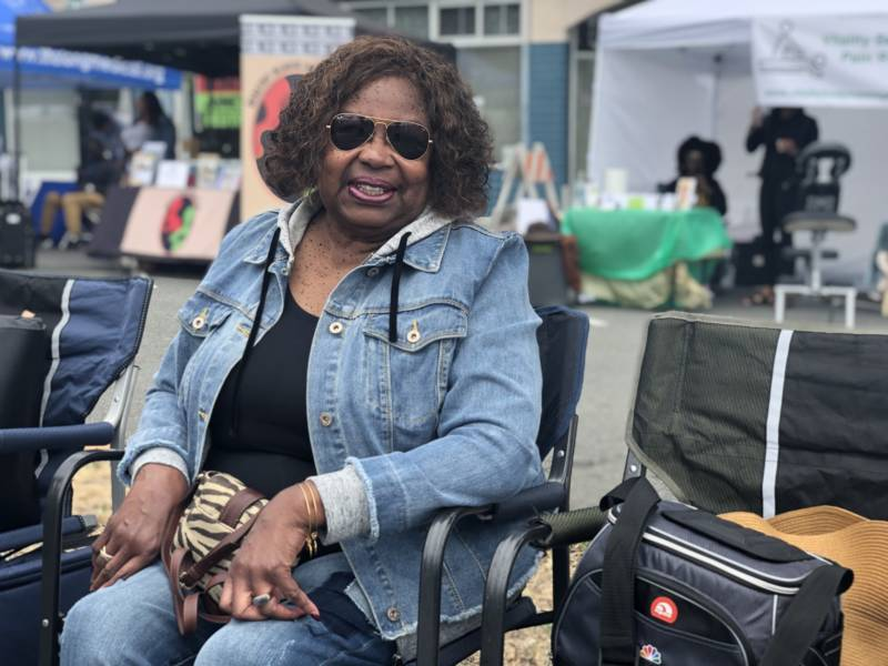 Gloria Haney raised her kids in Berkeley before moving to El Sobrante. 'I've been coming to Juneteenth from the very beginning,' she said. 'My father was alive then, and he would fly up from L.A., and this is where he would sit. He's gone on to meet the Lord, and we're taking over and continuing on.'