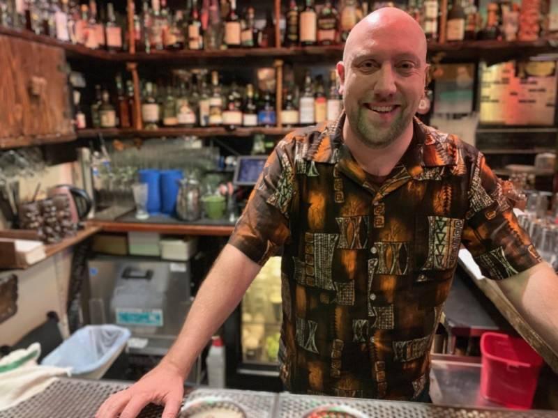 Martin Cate at his bar, Smuggler's Cove, in San Francisco.