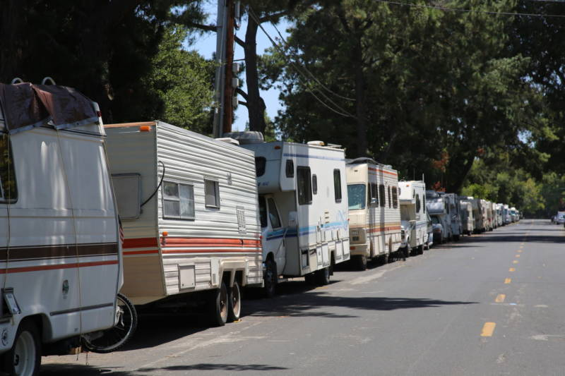 More than 30 mobile homes extend down the block near Rengstorff Park in Mountain View.