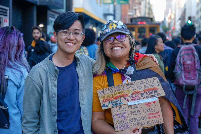 Teo Octavia (R), poses with friend and fellow API Equality member, Ethan Li (L). Teo is a documentary filmmaker and organizer who specifically works with queer transgender Asian American youth in Oakland. 'For me Pride means building resilience and healing among our youth so they can continue to persist and resist until they've reached their wildest dreams and fulfilled their wildest visions. To know that they belong, that they have a home, and that they will be powerful change-makers today and in the future.'