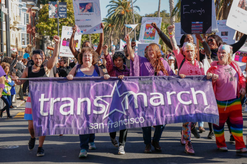 The first line of marchers in the 2019 Trans March lead the way down Market Street. The Trans March has taken place on the Friday of Pride weekend since 2004.