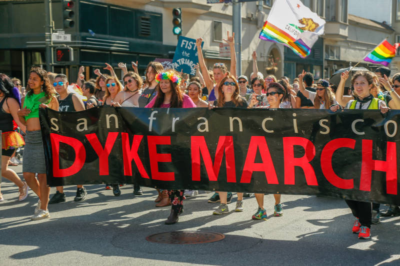 The first line of marchers for San Francisco's 2019 Dyke March lead the way from Dolores Park on June 29, 2019.