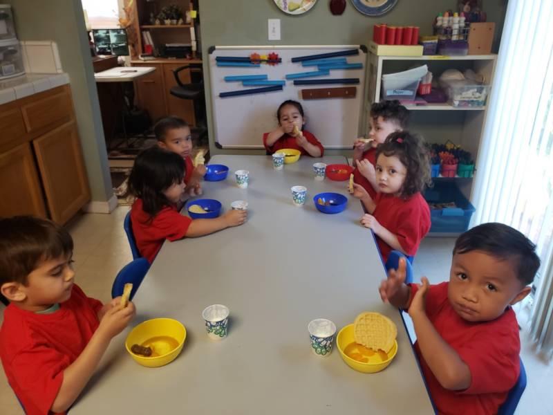 Kids at Alexander Preschool and Child Care in Elk Grove eat breakfast.