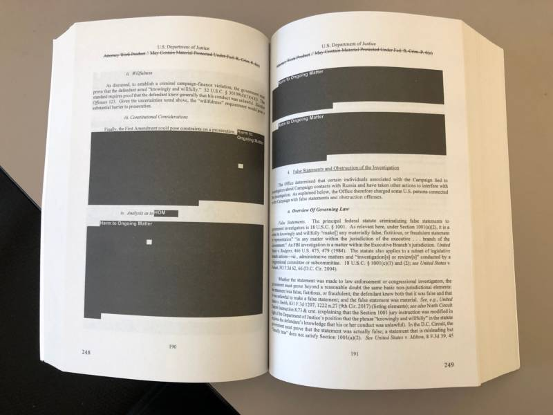 One of the many redacted sections of the Mueller Report.