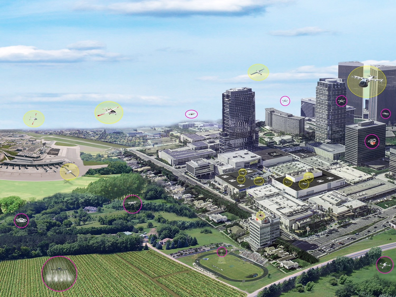The concept of urban air mobility involves multiple aircraft safely operating within a city. (Yellow circles are vehicles with passengers; pink circles are vehicles without passengers.)