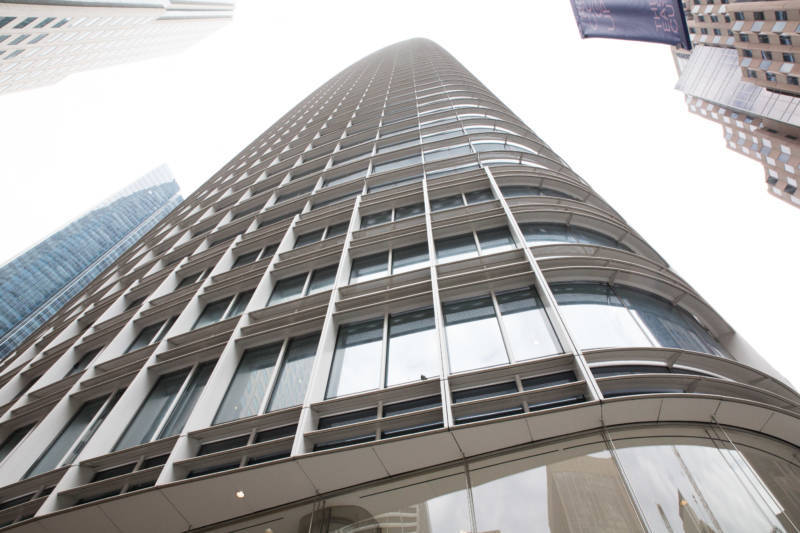 A view of Salesforce Tower from below.