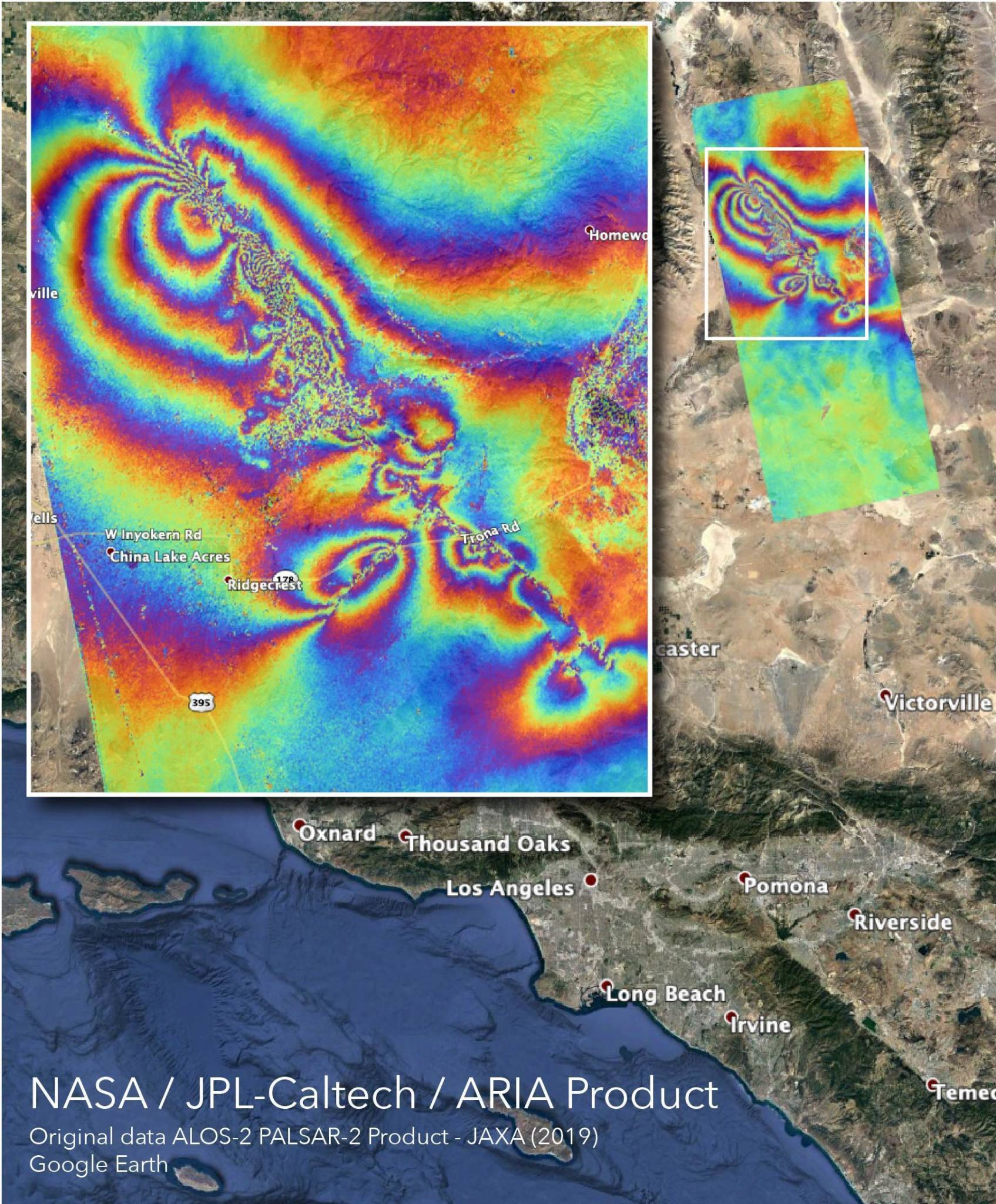Rippling Rainbow Map Shows How California Earthquakes Moved the Earth