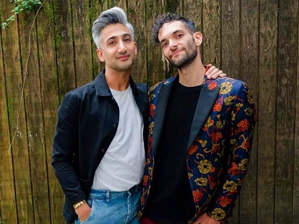 Tan France of 'Queer Eye' poses with Emmanuel Hapsis, host of KQED's 'The Cooler' podcast.