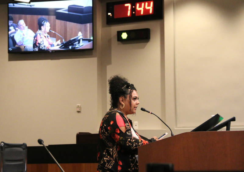 Alicia Saddler addresses Vallejo City Councilmembers at a meeting on June 25, 2019.
