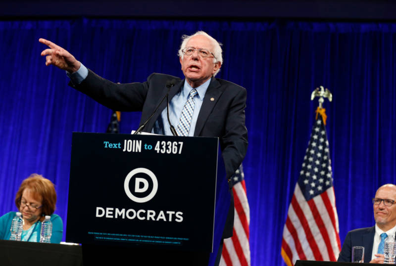 Vermont Sen. Bernie Sanders reiterated his platform at the DNC's summer meeting in San Francisco on Friday.