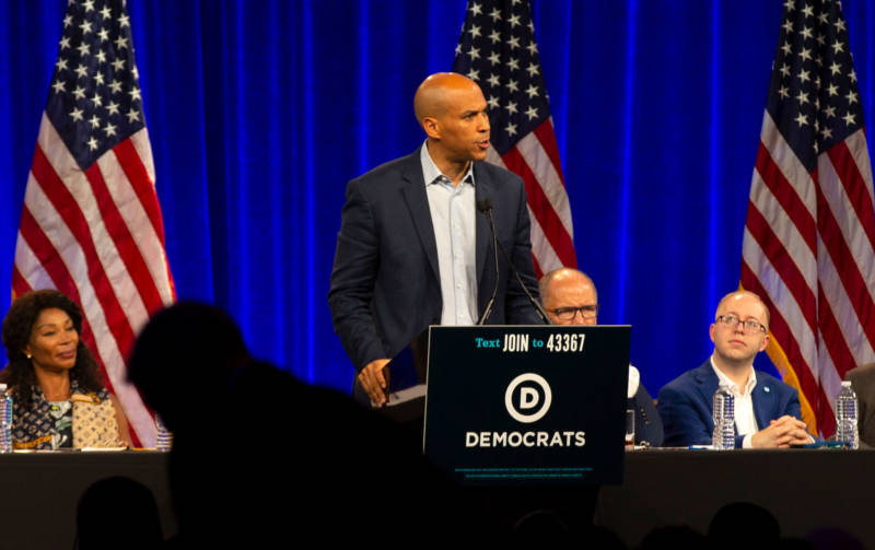 Sen. Cory Booker speaks at the DNC's summer meeting in San Francisco on Friday.