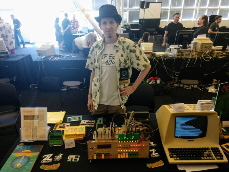Pierson with his custom-built Cactus Computer, which simulates the computer culture of the 70's.