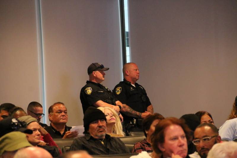 Vallejo police officers at a City Council meeting.