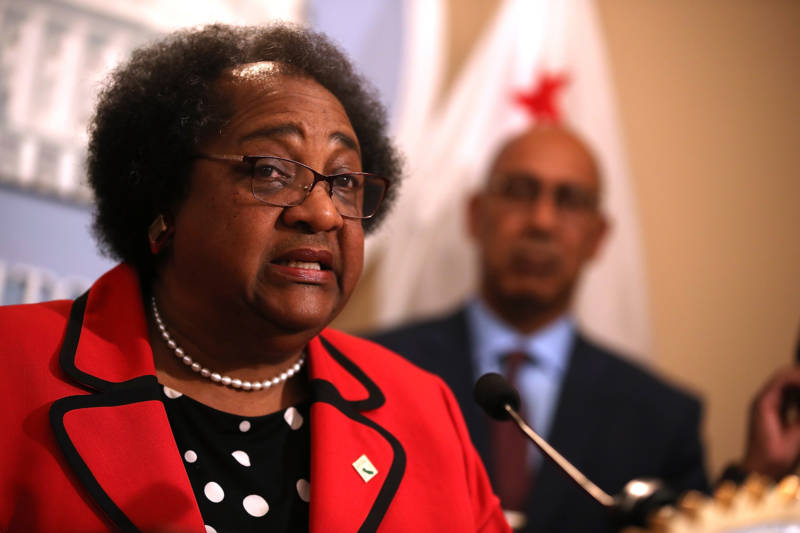 California State Assemblymember Shirley Weber (D-San Diego) speaks during a news conference to announce new legislation to address recent deadly police shootings on April 3, 2018 in Sacramento, California.