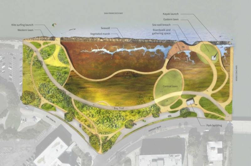 Park proposal map has a boardwalk space, a trail, and a central lawn.
