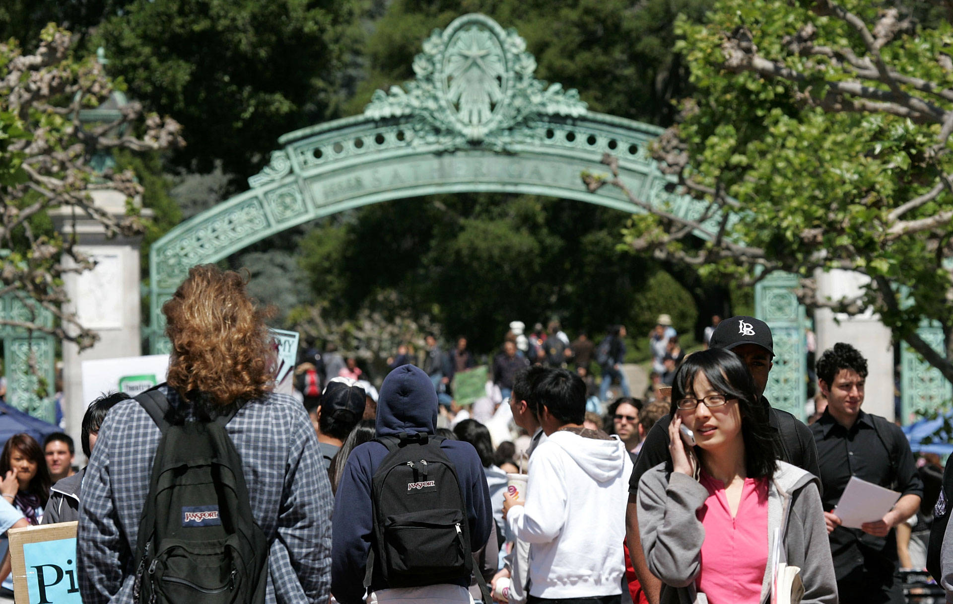 Students walk through Sather Gate at UC Berkeley, one of the nation's most selective public universities. Justin Sullivan/Getty Images