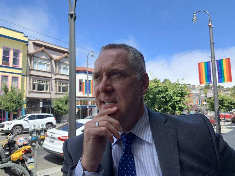 David Perry had the idea for San Francisco's Rainbow Honor Walk in the late 1980s. On July 23, 2019, he visited some of the sidewalk plaques on Castro Street.