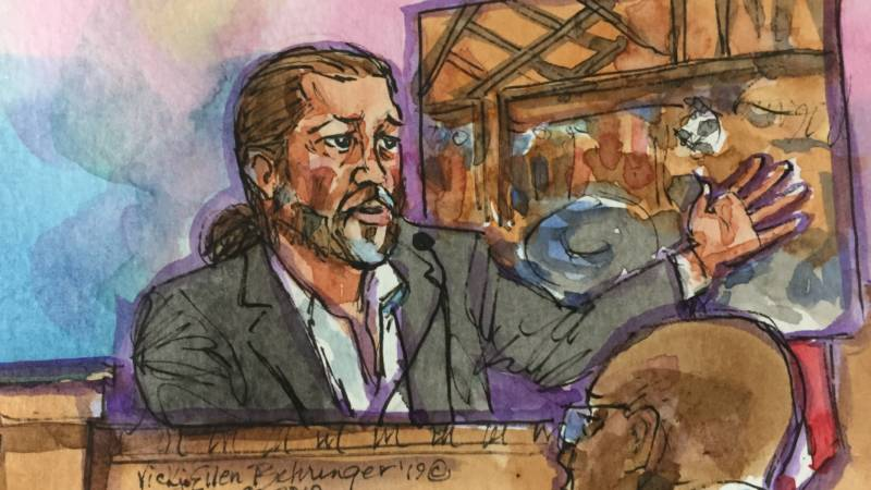 Ghost Ship master tenant Derick Almena during his first day of testimony in the 2019 criminal trial in which he faced 36 counts of involuntary manslaughter. He is set to be re-tried this year.