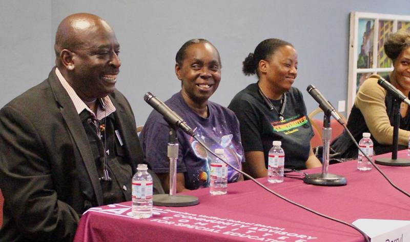 Darryl Lester gets ready to share his experiences on a March 2019 panel of black San Francisco parents who are navigating the special education system.