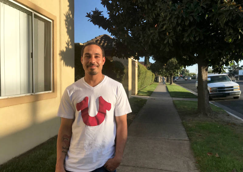 Jovan Bravo, 31, at the Stockton Economic Empowerment Demonstration headquarters. Bravo is one of 125 residents receiving $500 a month from the pilot project. Some say the concept, often called universal basic income, could offer a solution to the income inequality that plagues the city and state.