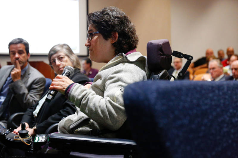 Marissa Shaw of Richmond, a member of the disability community, speaks during the public comment period of Friday's CPUC meeting. Shaw said she was not informed about PG&E's power outage because she's not eligible for the medical baseline program, since her landlord pays her utility bill.