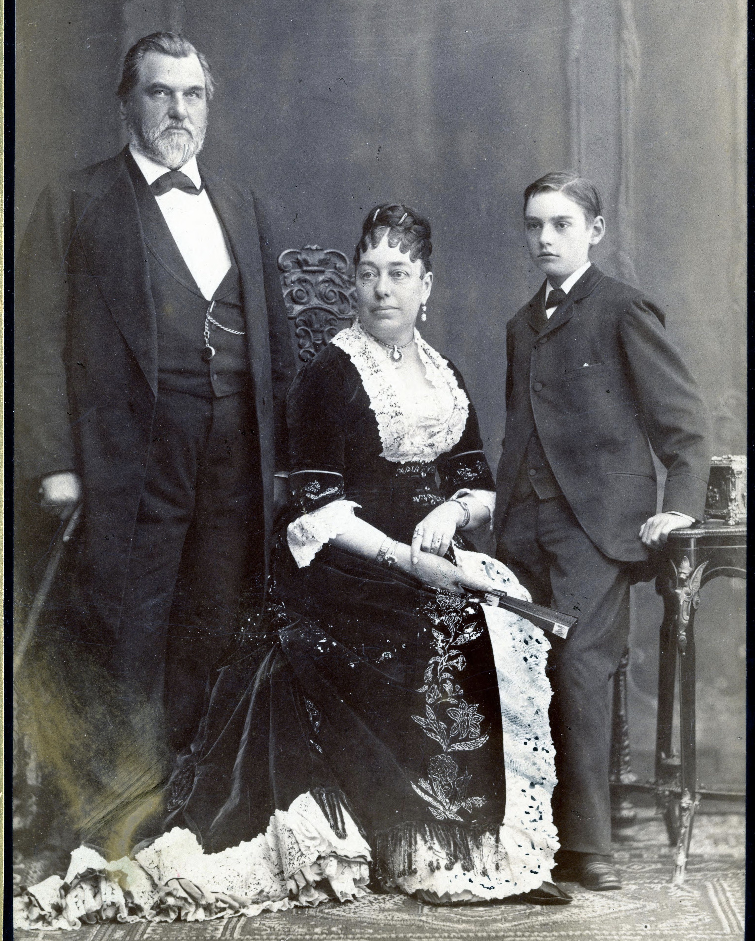 Leland, Jane and Leland Jr. Stanford in Paris c. 1881-1883.