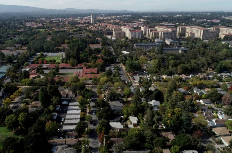 Stanford's campus spans 8,180 acres in San Mateo and Santa Clara counties and is one of the largest in the country