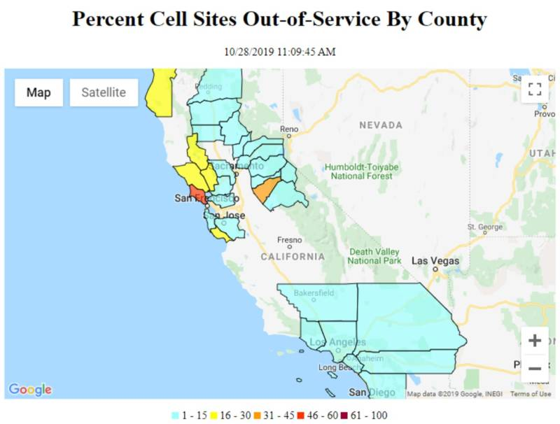 A screenshot of the cell site outages on Monday, Oct. 28, 2019, in California according to data voluntary provided by telecoms companies to the Federal Communications Commission.