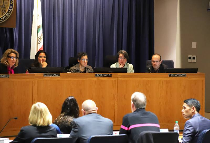 Executives from AT&T, Verizon, Comcast, T-Mobile, Frontier Communications and Charter/Time Warner at a hearing in San Francisco of the California Public Utilities Commission regarding cellphone service during wildfires and power shutoffs on Wednesday, Nov. 20, 2019.