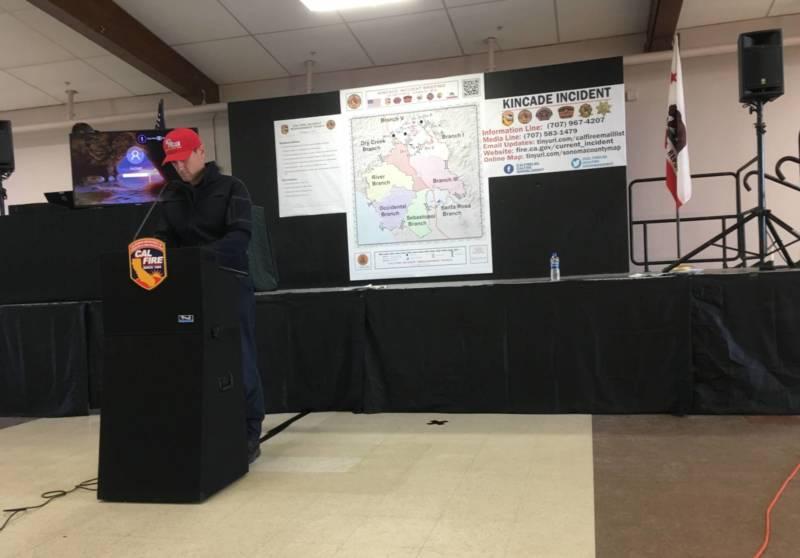 Cox prepares for a press conference on the Kincade Fire.